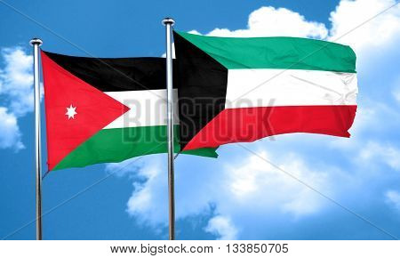 Jordan flag with Kuwait flag, 3D rendering
