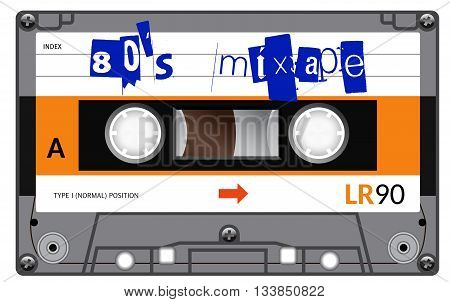 Vintage Cassette With Lettering Title. Eighties Mixtape.