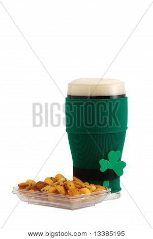 Beer In St Patrick Beer Glass With Snack