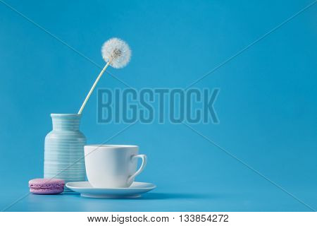 Stillife With Dandelions And Macaroon