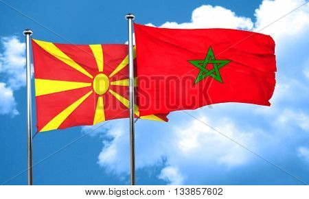 Macedonia flag with Morocco flag, 3D rendering  poster