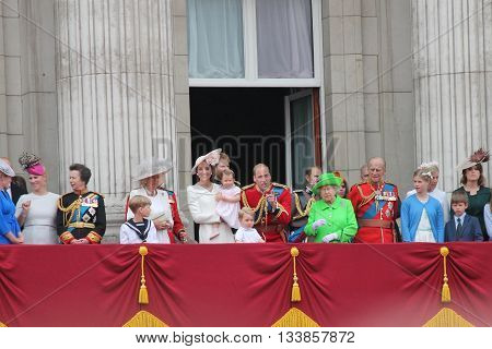 Westminster, London, ENGLAND - June 11, 2016: The British Royal family appear on the Balcony of Buckingham Palace during the trooping of the colour for Queen Elizabeth's 90th Birthday.