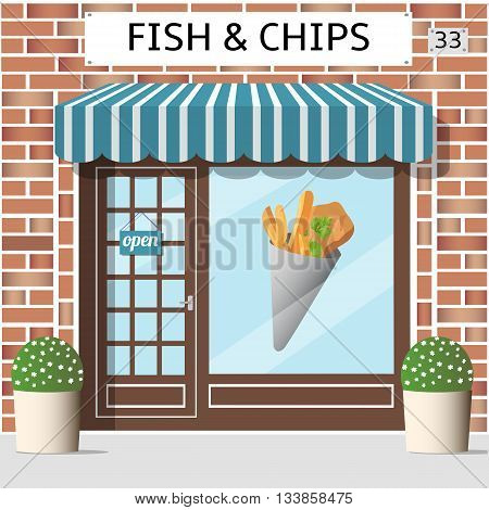 Fish and chips cafe building. Sticker on window. Red brick facade Vector illustration.