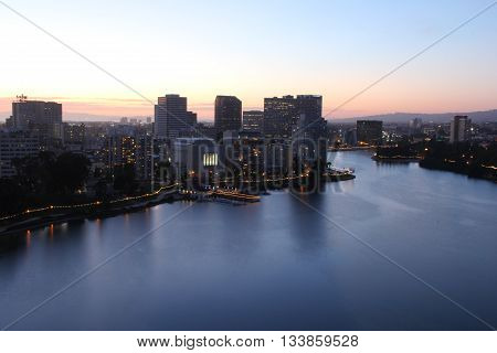 View of the beautiful Lake Merritt at dusk