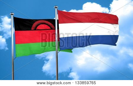 Malawi flag with Netherlands flag, 3D rendering