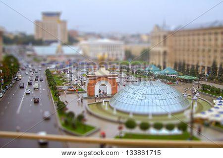 Maidan Nezalezhnosti, Indipendence Square, Kiev, Ukraine. Tilt-shift Effect Applied