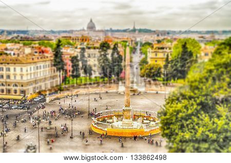 Aerial View Of Piazza Del Popolo, Rome. Tilt-shift Effect Applied