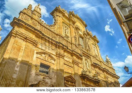 Baroque Facade Of The Sant'agata Cathedral In Gallipoli, Italy