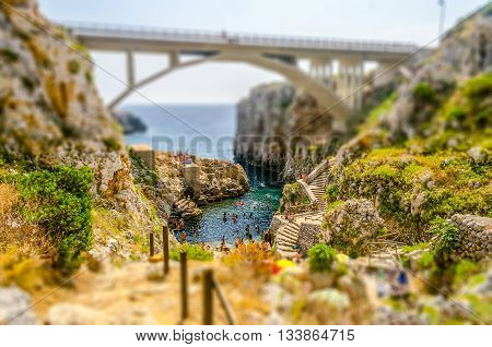 Beautiful Seascape At Ciolo Bridge, Apulia, Italy. Tilt-shift Effect Applied