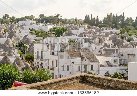 Scenic Panoramic View Of Alberobello And Trulli Buildings, Apulia, Italy
