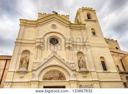 Scenic Facade Of St. Francesco Church In Pizzo Calabro, Italy