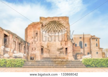 Defocused Background With Ruins Of Venus Temple In Rome, Italy