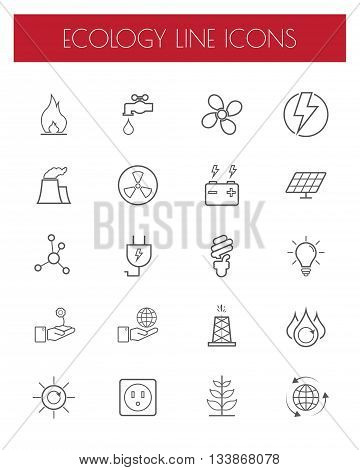 Thin Line Energypower and environment icon set.Vector.