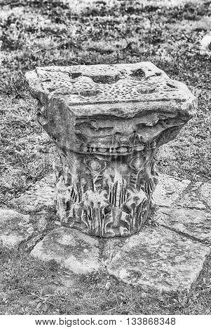 Roman Ruins Of Corinthian Columns On Palatine Hill In Rome