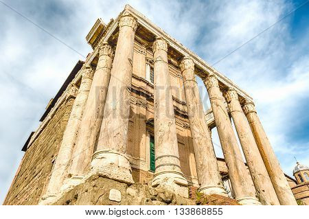 Ruins Of The Temple Of Antoninus And Faustina In Rome, Italy