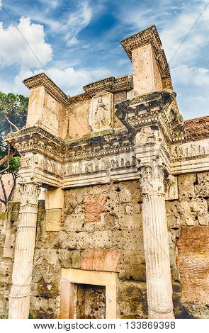 Ruins Of Temple Of Minerva, Forum Of Nerva, Rome, Italy