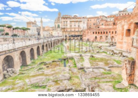 Defocused Background With Ancient Ruins Of Trajan's Market, Rome, Italy