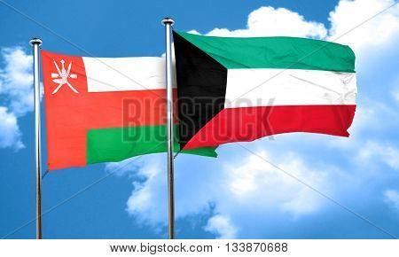 Oman flag with Kuwait flag, 3D rendering