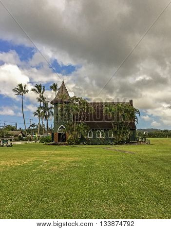 The Green church in Hanalei, on Kauai, Hawaii