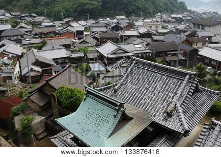Rooftops on Ku Island Seto Island Sea poster