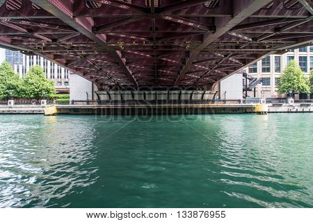 Chicago, United States: May 27, 2016: Underside of Bridge in Chicago on a summer afternoon