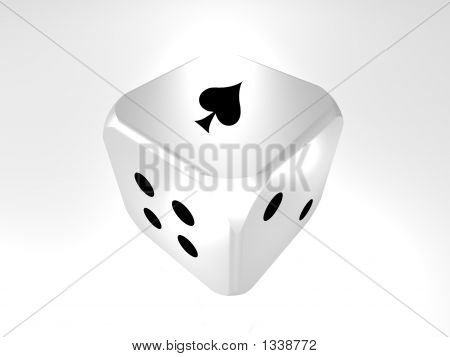 3D Cube Die Showing Ace