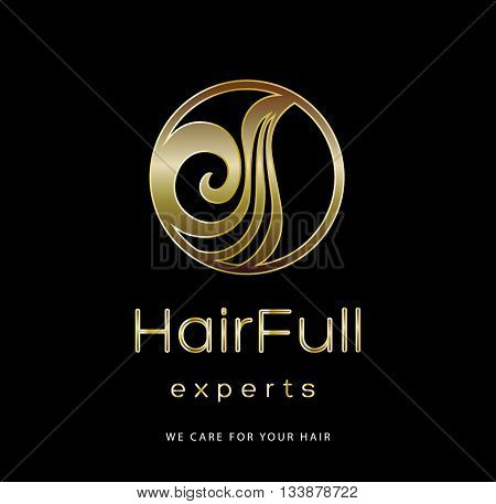 BEAUTIFUL HAIR , PREMIUM VECTOR LOGO / ICON DESIGN , GOLD