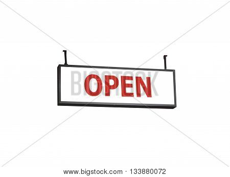 Open signboard on white background, stock photo