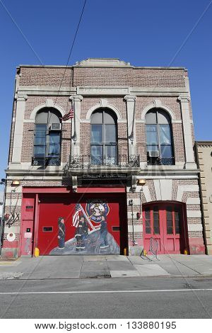 NEW YORK - MARCH 29, 2015:  Engine Company 255 Firehouse in Brooklyn. FDNY is the largest combined Fire and EMS provider in the world