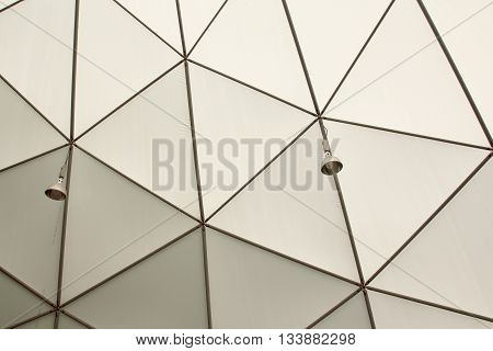 Framework gray roof dome in the ceiling.