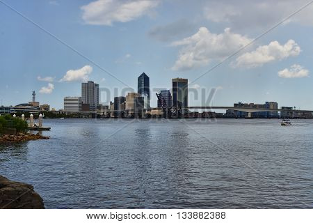 JACKSONVILLE, FLORIDA - June 6, 2016: Downtown Jacksonville skyline viewed over St. Johns River. The city is the largest in the state by population