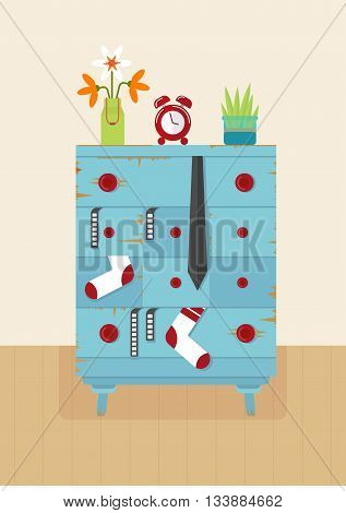 Old blue dresser for clothes. Furniture for living room and bedroom. Vintage furniture. Retro furniture. Objects isolated on a white background. Flat vector illustration.
