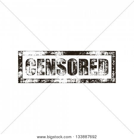 Censored stamp of black grunge square vintage rubber print. Censor black stamp. Censure seal ink vector imprint.