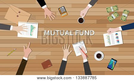 mutual fund economy business team work together on top of the table vector graphic illustration