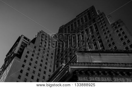 Buildings in New York, black and white
