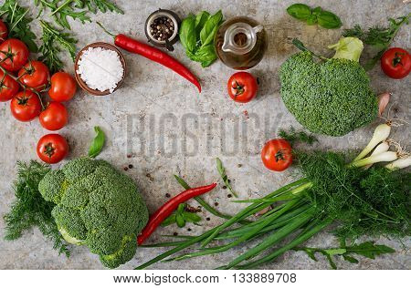 Fresh Vegetables - Broccoli, Cherry Tomatoes, Chili Peppers And Other Ingredients For Cooking. Prope