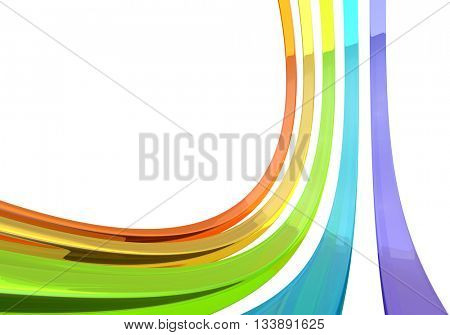 Abstract 3D glass bars on white background 3D rendering. Color glass curves with copy space.