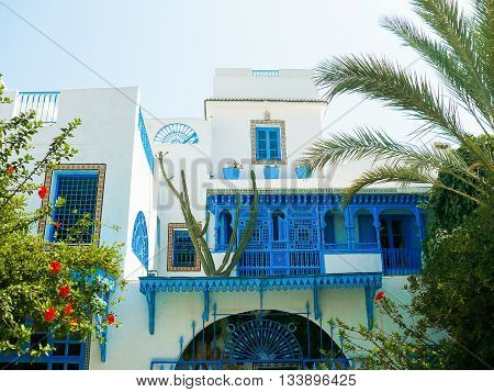 Traditional white and blue interior of house in Sidi Bou Said Tunisia.
