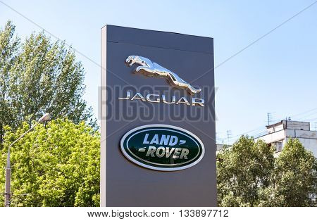 SAMARA RUSSIA - JUNE 5 2016: Jaguar Land Rover dealership sign. Brand of the British multinational car manufacturer Jaguar Land Rover owned by Tata Motors since 2008