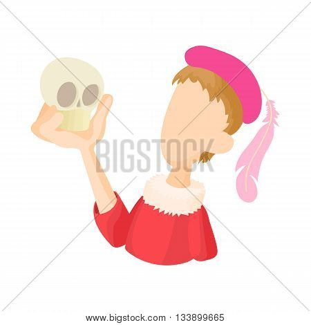 Hamlet actor icon in cartoon style on a white background