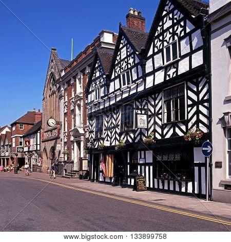 LICHFIELD, UNITED KINGDOM - JULY 14, 1993 - Tudor Cafe and Guildhall along Bore Street Lichfield Staffordshire England UK Western Europe, July 14, 1993.
