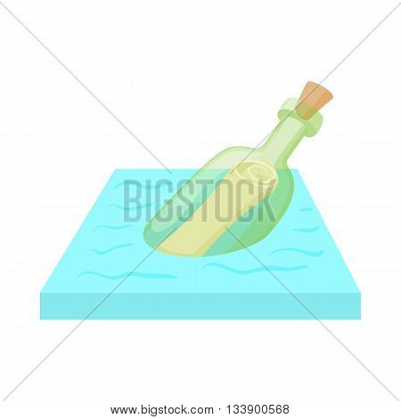 Bottle with letter icon in cartoon style on a white background