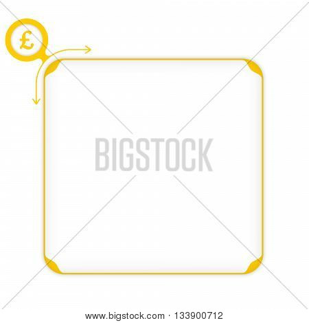 Vector yellow box to fill your text and pound sterling symbol