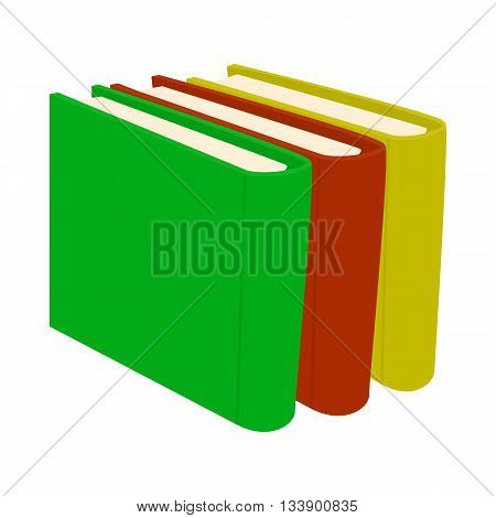 Stack of books icon in cartoon style on a white background