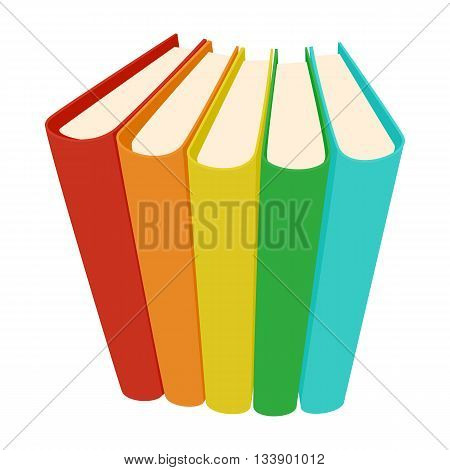 Stack of three colored books icon in cartoon style on a white background