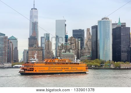 Staten Island Ferry On The New York Harbor