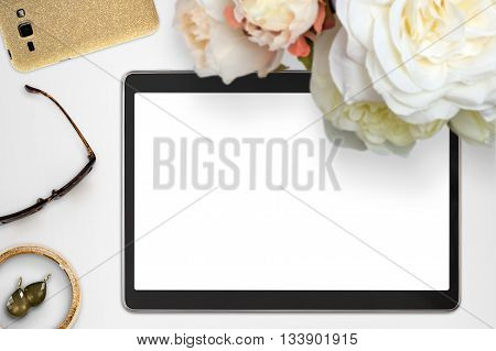 Styled Feminine Tablet Mockup