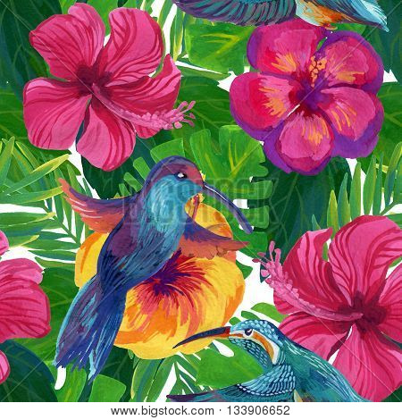 hand painted humming-birds with hibiscus flowers watercolor seamless pattern