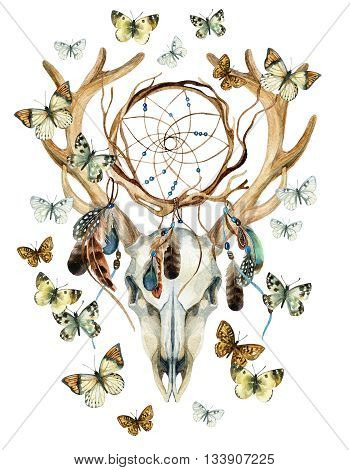 Deer skull. Animal skull with dreamcather and butterfly. Deer skull and ethnic dreamcatcher with feathers and butterfly isolated on white background. Watercolor hand painted illustration.