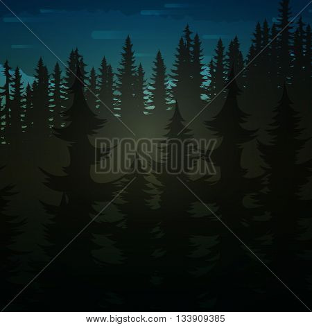 Background green realistic nature of the forest and mountains.